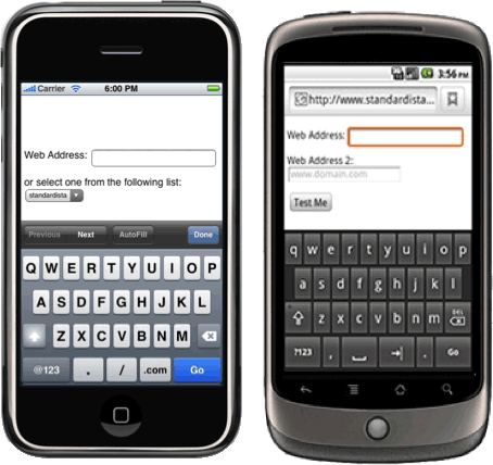 url input type on iphone and android